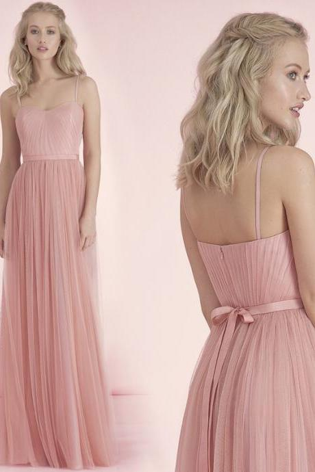 New 2016 A-Line Strapless Prom Party Dresses Tulle Spaghetti Strap Long Bridesmaid Dresses