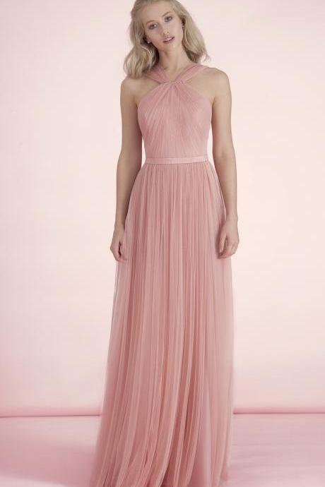 New A-Line Halter Chiffon Prom Dress Autumn And Winter Bridesmaid Dress