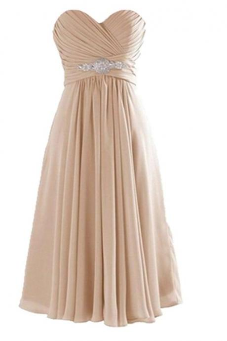 Short Chiffon Pleated A-Line Bridesmaid Dress Showcases Ruched Sweetheart Bodice with Crystal Embellishment